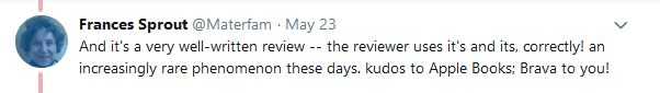 Frances Tweet re Apple Review