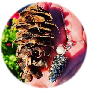 Pinecone with Silver and Pearl Necklace for Blog